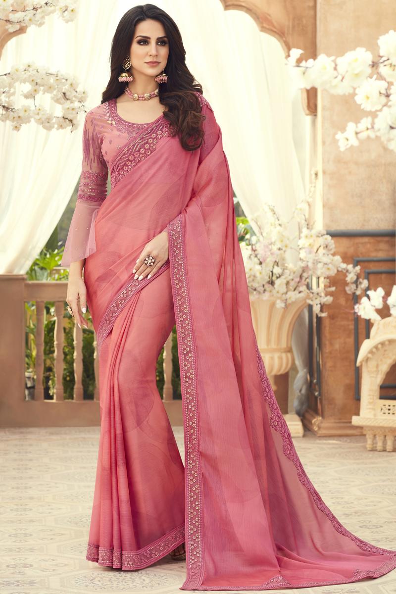 Chiffon Fabric Pink Color Designer Saree