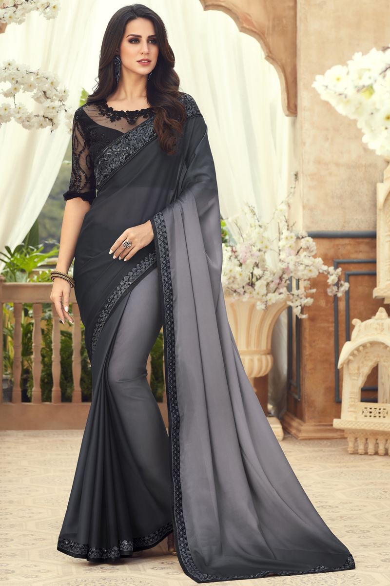 Festive Special Grey Color Chiffon Fabric Occasion Wear Saree