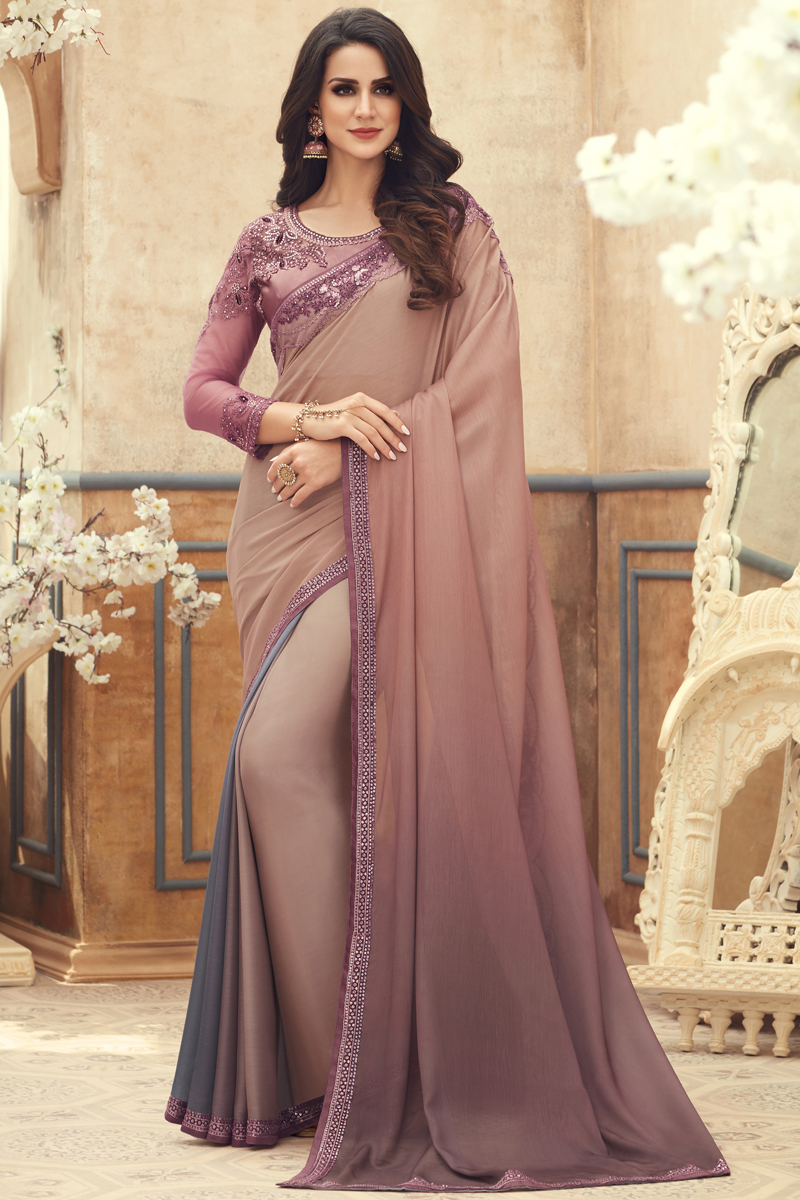 Fancy Chikoo Color Chiffon Fabric Sangeet Wear Saree