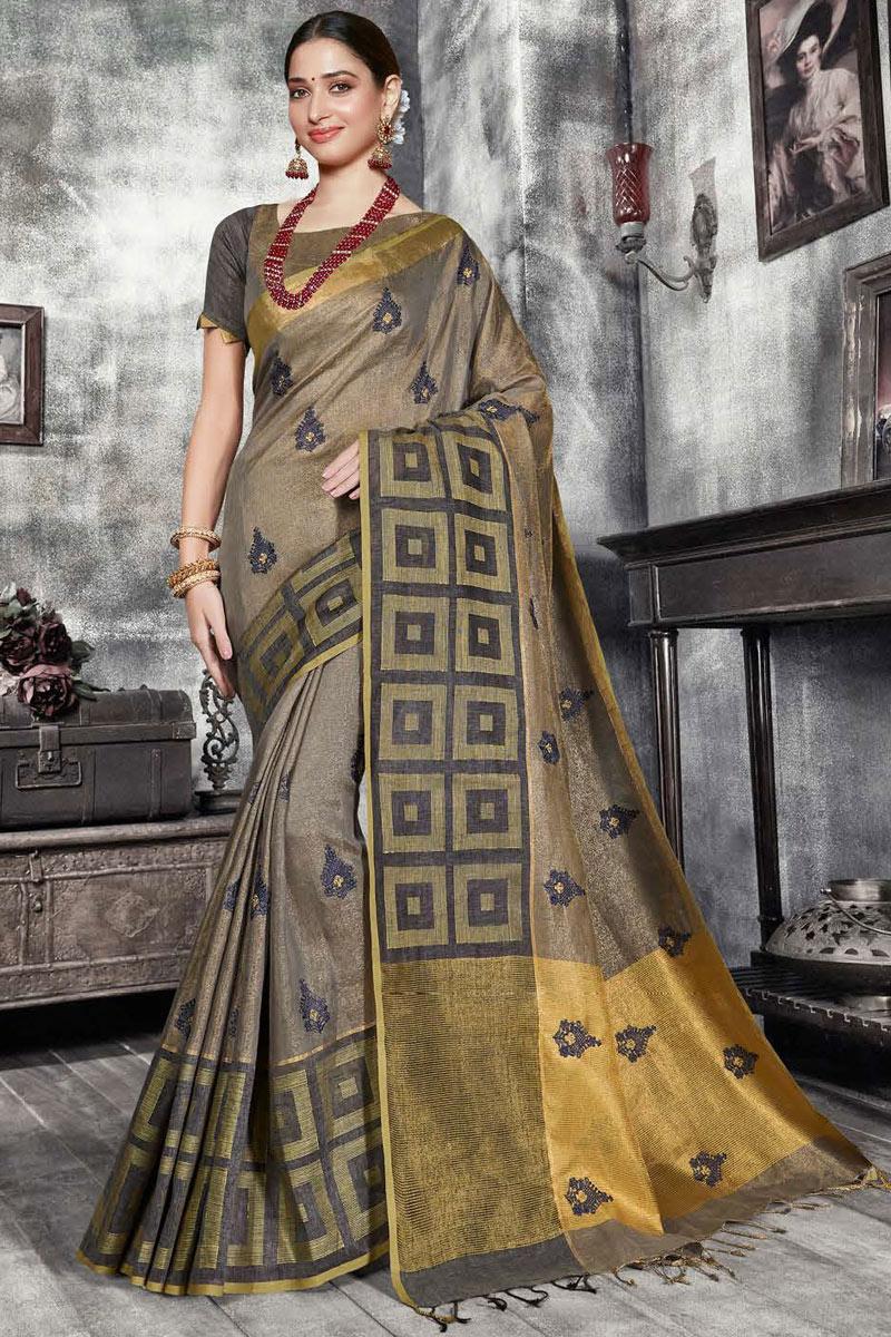 Tamannaah Bhatia Weaving Work On Art Silk Fabric Party Wear Saree In Dark Brown Color