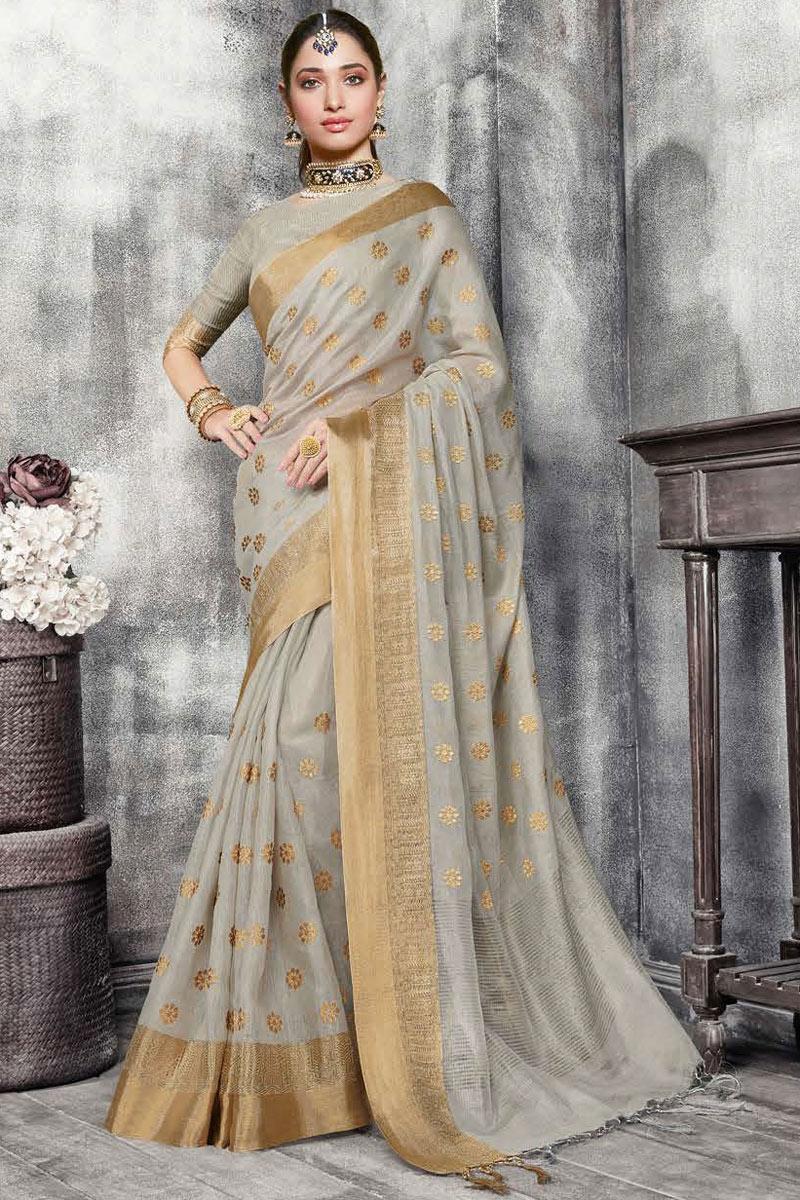 Tamannaah Bhatia Weaving Work On Art Silk Fabric Dark Beige Color Function Wear Saree