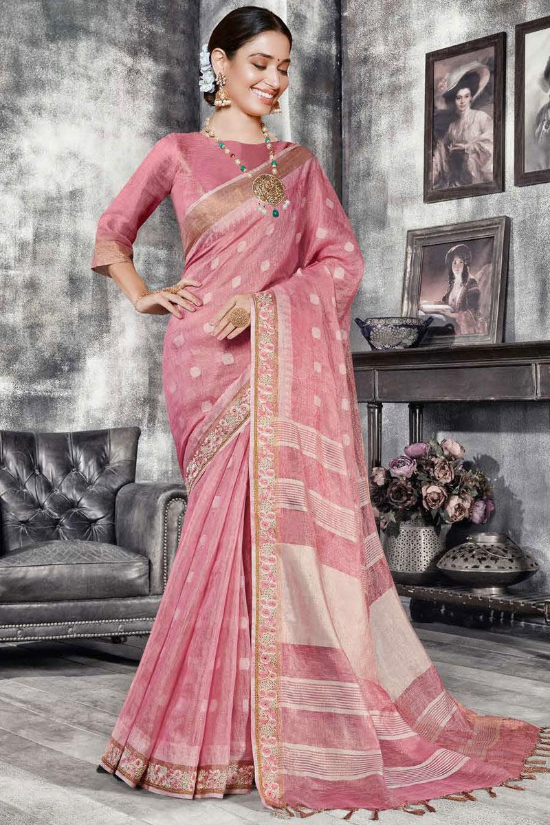 Tamannaah Bhatia Pink Color Art Silk Fabric Designer Saree With Weaving Work Designs
