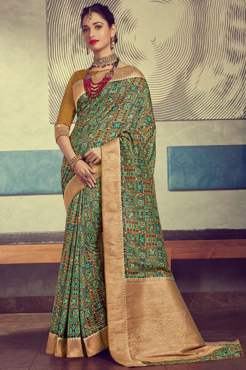 Eid Special Tamanna Bhatia Featuring Multi Color Crepe And Art Silk Fabric Festive Wear Saree With Printed
