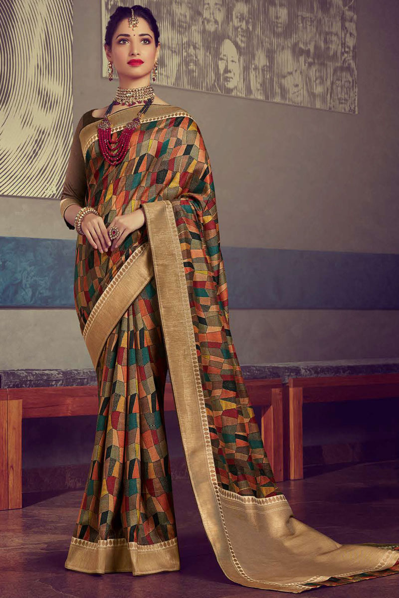 Eid Special Tamanna Bhatia Featuring Crepe And Art Silk Fabric Fancy Saree With Printed On Multi Color