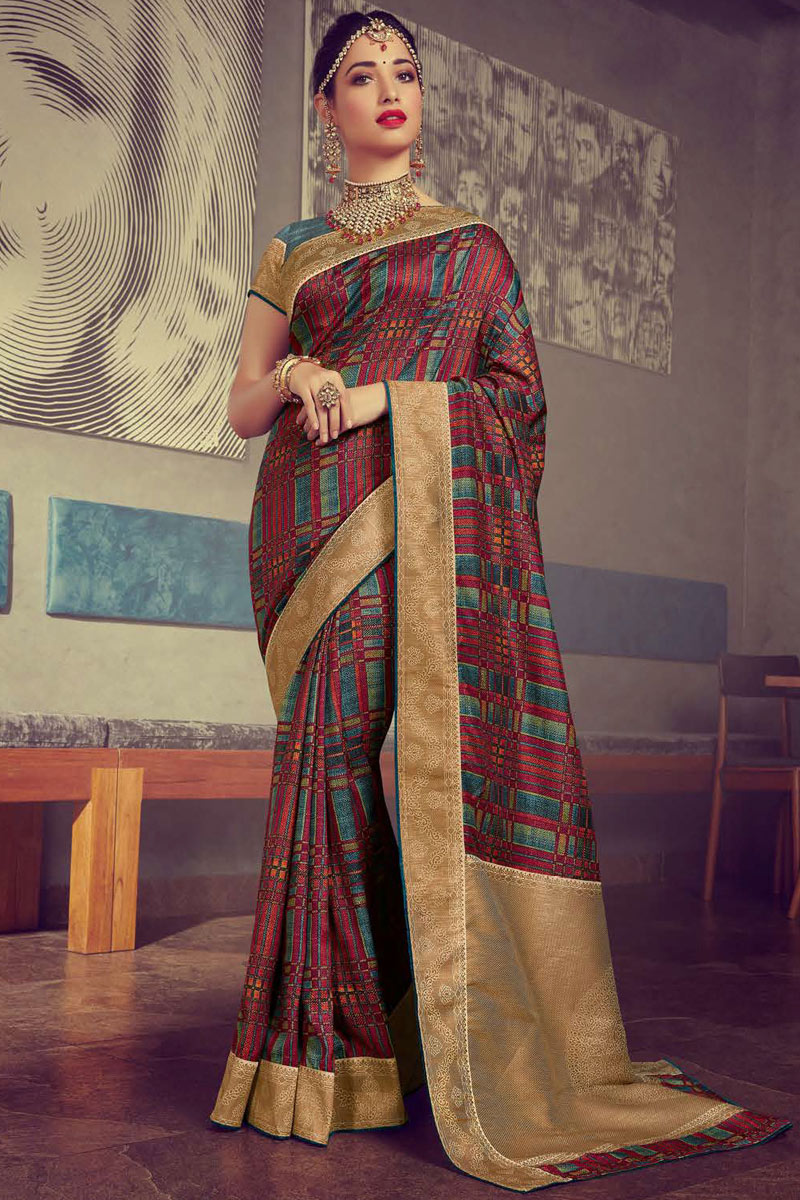 Eid Special Tamanna Bhatia Featuring Printed Office Wear Saree In Crepe And Art Silk Fabric Multi Color