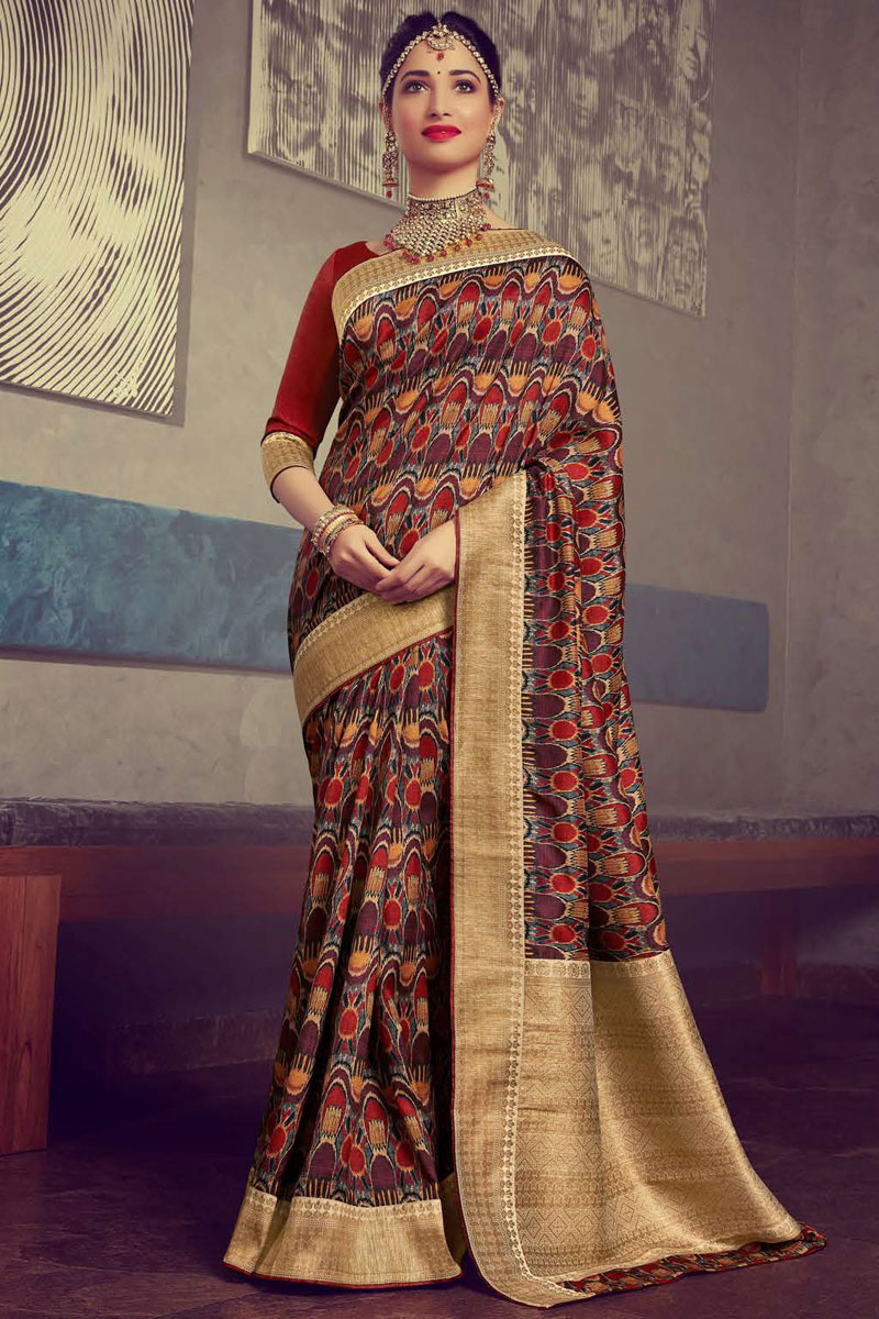 Eid Special Tamanna Bhatia Featuring Multi Color Puja Wear Printed Saree In Crepe And Art Silk Fabric