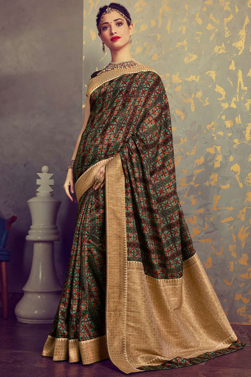 Tamanna Bhatia Featuring Crepe And Art Silk Fabric Multi Color Function Wear Trendy Saree
