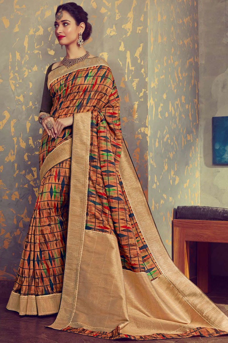 Eid Special Tamanna Bhatia Featuring Multi Color Crepe And Art Silk Fabric Fancy Printed Daily Wear Saree