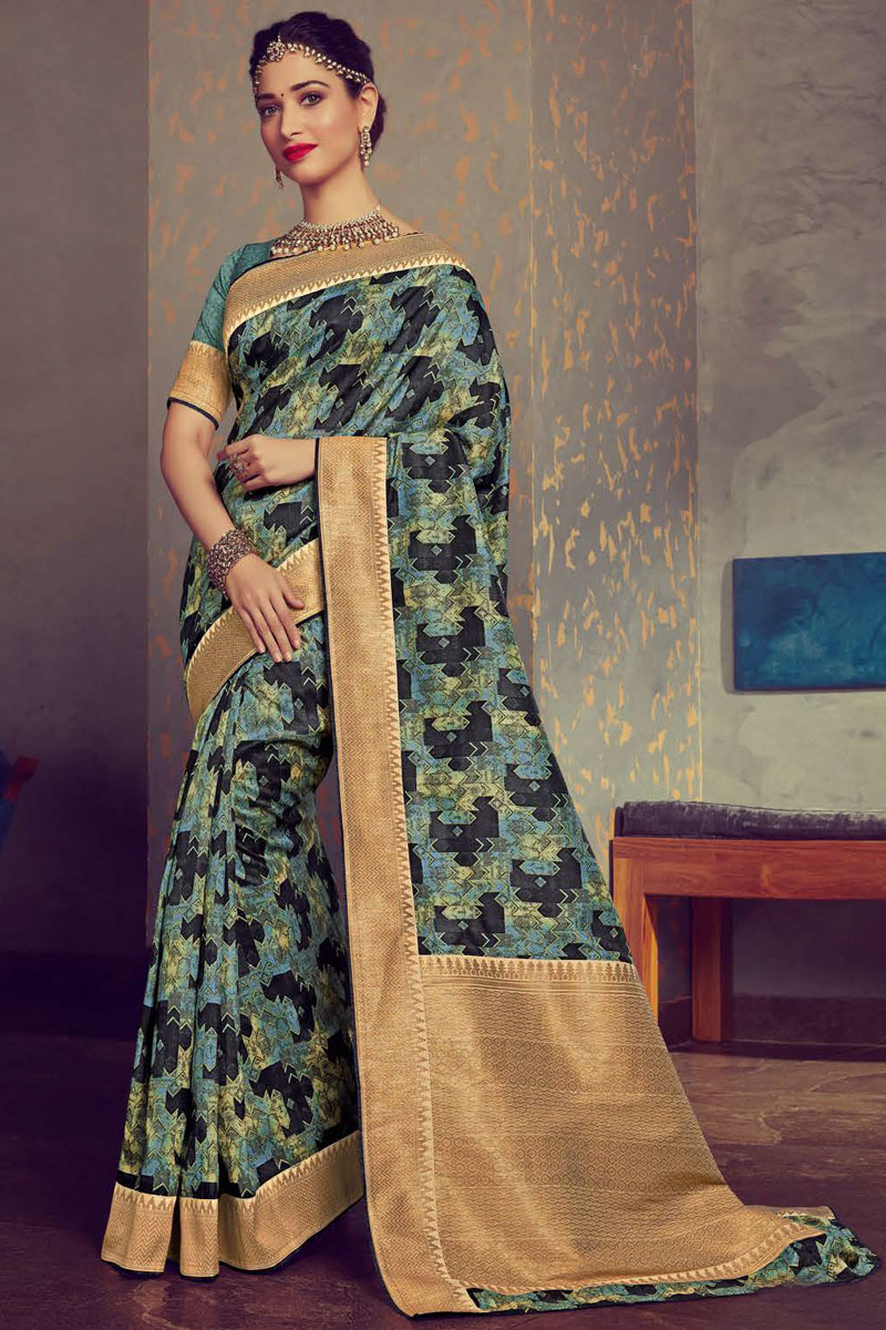 Eid Special Tamanna Bhatia Featuring Crepe And Art Silk Fabric Designer Daily Wear Saree In Multi Color
