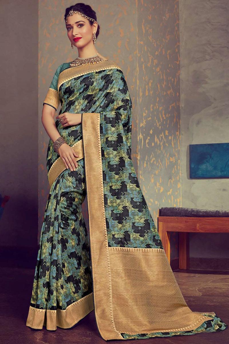 Tamanna Bhatia Featuring Multi Color Crepe And Art Silk Fabric Casual Wear Designer Saree
