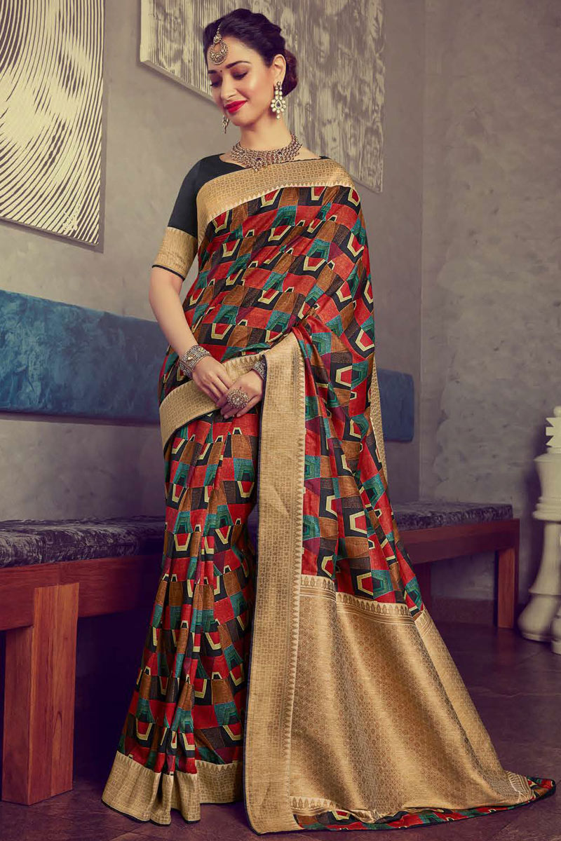 Eid Special Tamanna Bhatia Featuring Multi Color Casual Wear Saree In Crepe And Art Silk Fabric