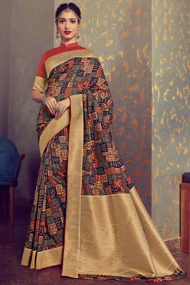 Eid Special Tamanna Bhatia Featuring Printed Multi Color Crepe And Art Silk Fabric Function Wear Saree With Blouse