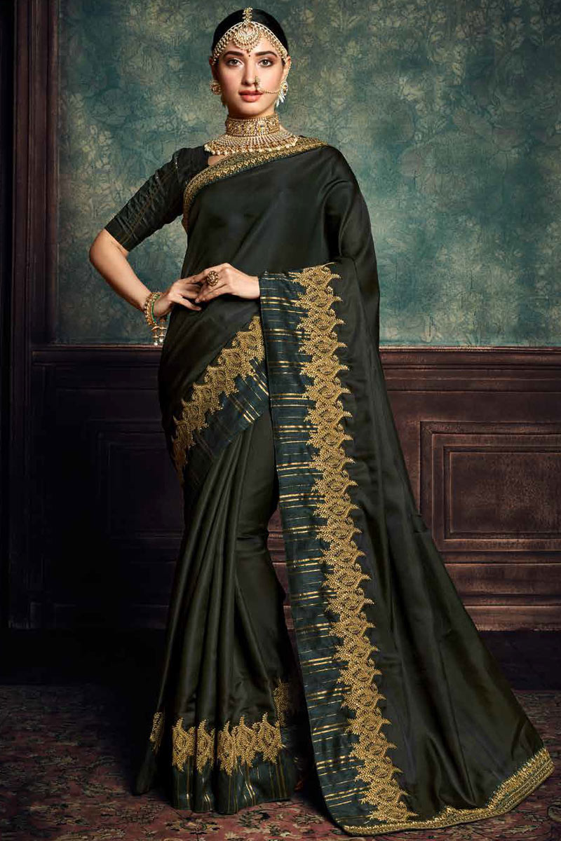 Eid Special Tamannaah Bhatia Featuring Embroidery Designs On Black Color Art Silk Fabric Party Wear Saree With Designer Blouse