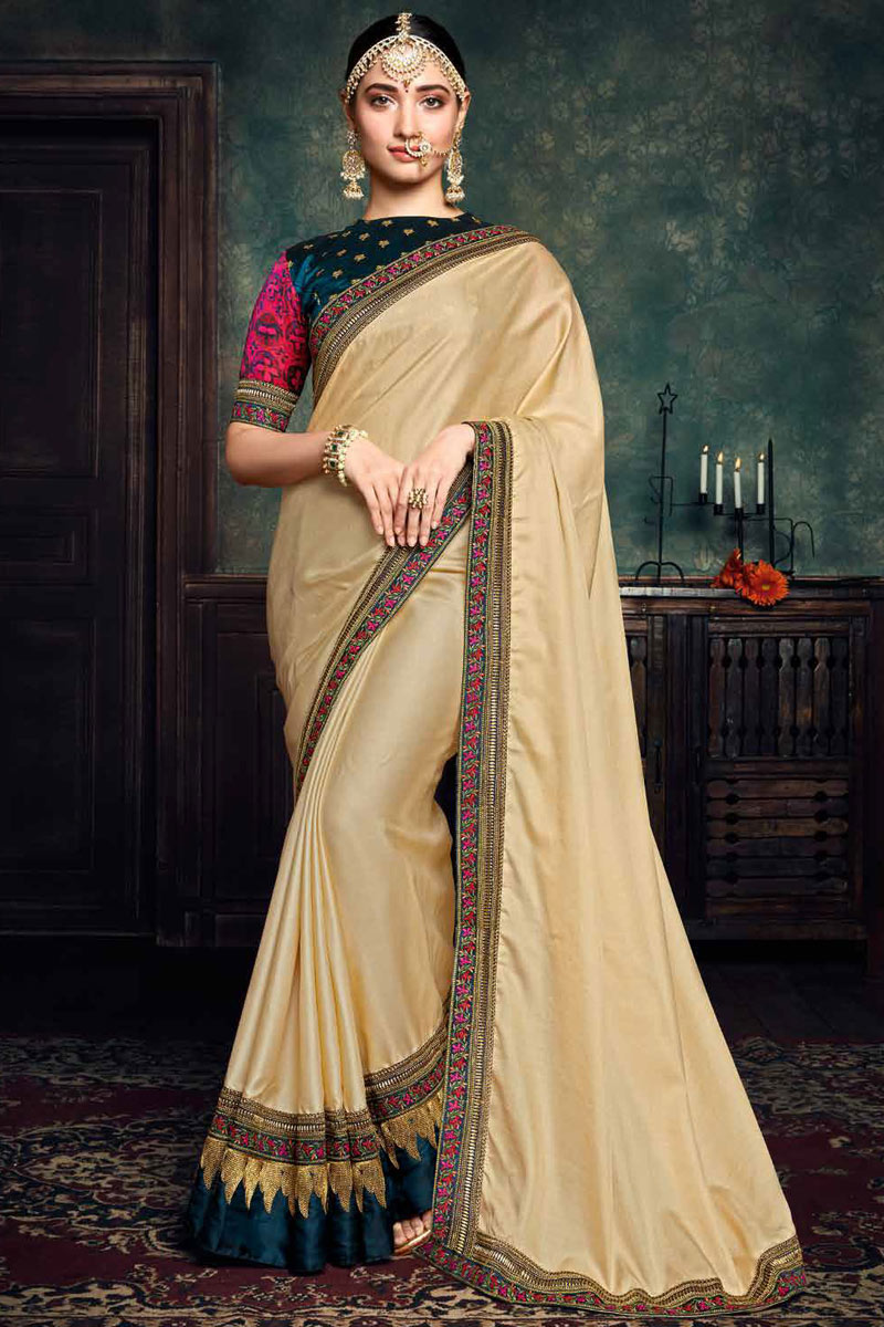 Tamannaah Bhatia Featuring Embroidery Work On Art Silk Fabric Cream Color Function Wear Saree With Party Wear Blouse