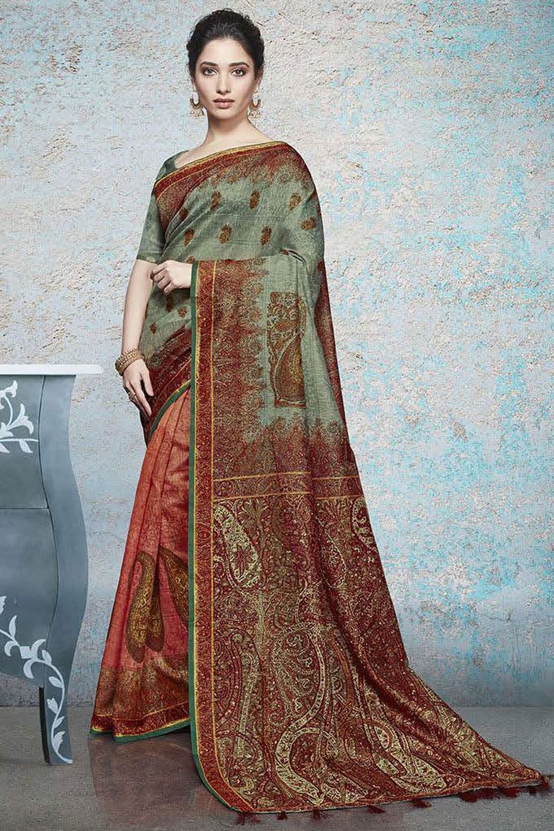 Tamannaah Bhatia Featuring Fancy Linen Fabric Multi Color Daily Wear Printed Saree