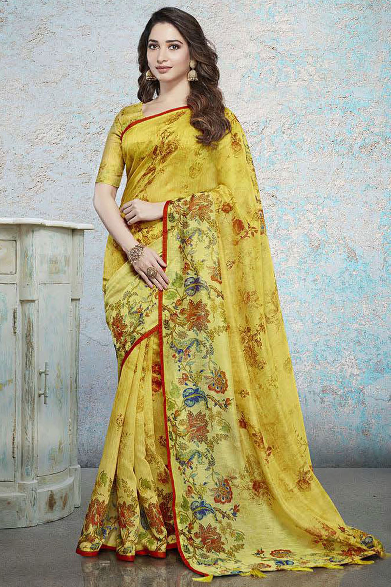 Tamannaah Bhatia Featuring Printed Occasion Wear Saree In Yellow