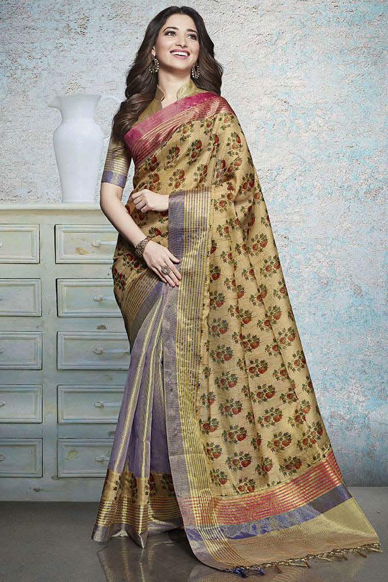 Tamannaah Bhatia Featuring Printed Daily Wear Saree In Linen Fabric Beige