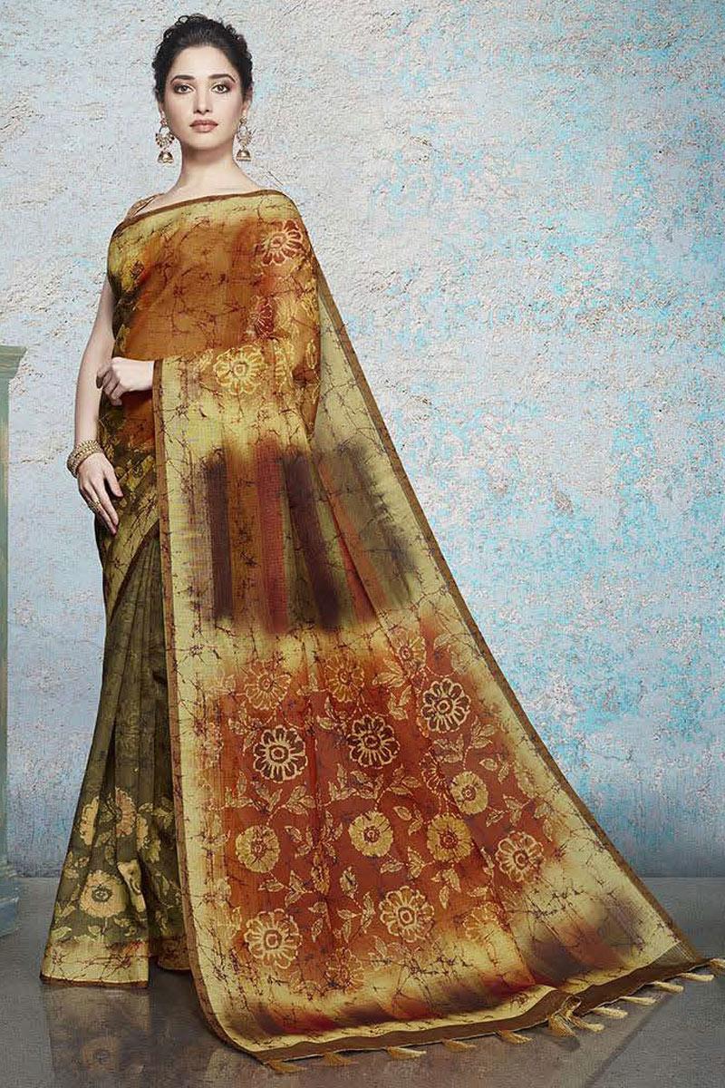 Tamannaah Bhatia Featuring Printed Multi Color Designer Saree In Linen Fabric