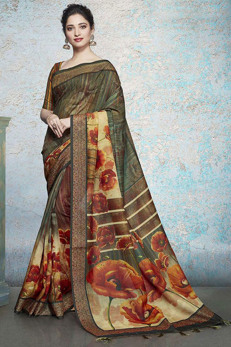 Tamannaah Bhatia Featuring Printed Linen Fabric Fancy Saree In Multi Color