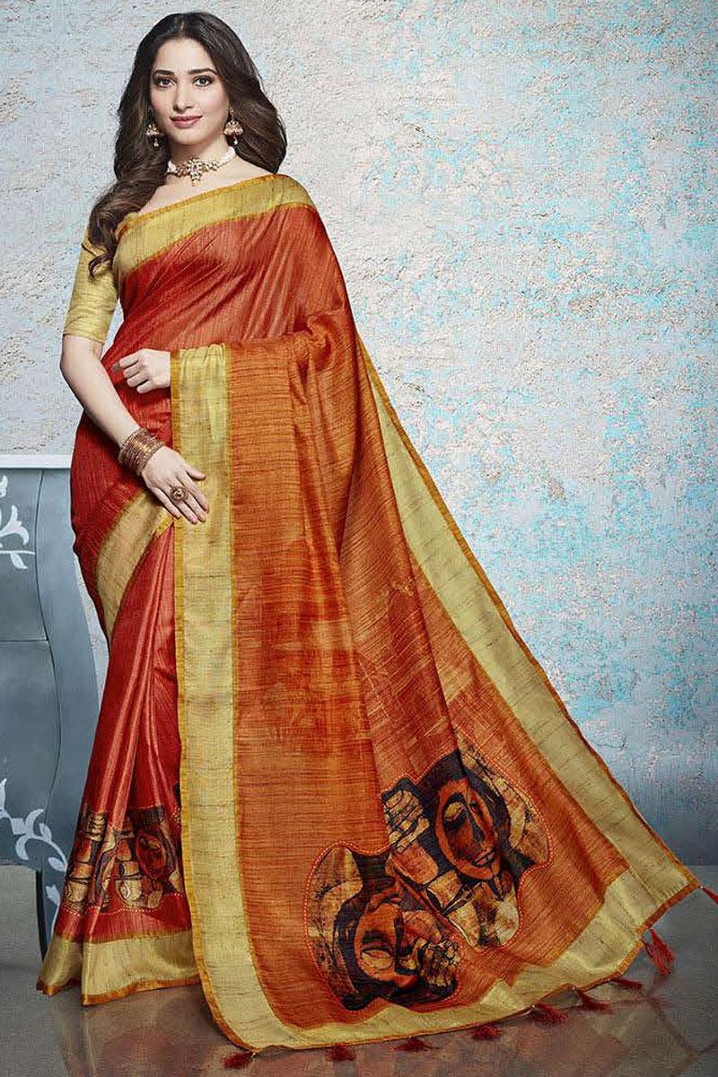 Tamannaah Bhatia Featuring Orange Casual Wear Printed Saree In Linen Fabric