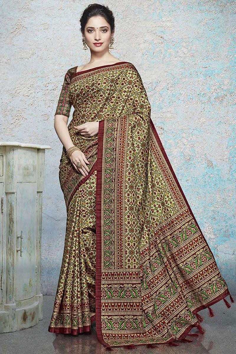Tamannaah Bhatia Featuring Fancy Linen Fabric Beige Daily Wear Printed Saree