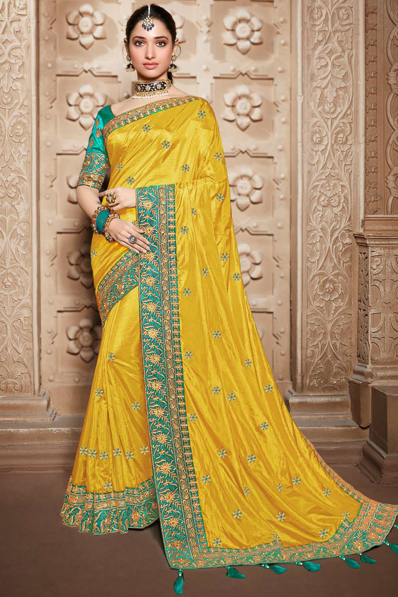 Tamannaah Bhatia Embroidery Designs On Yellow Color Function Wear Saree In Art Silk Fabric With Classic Blouse