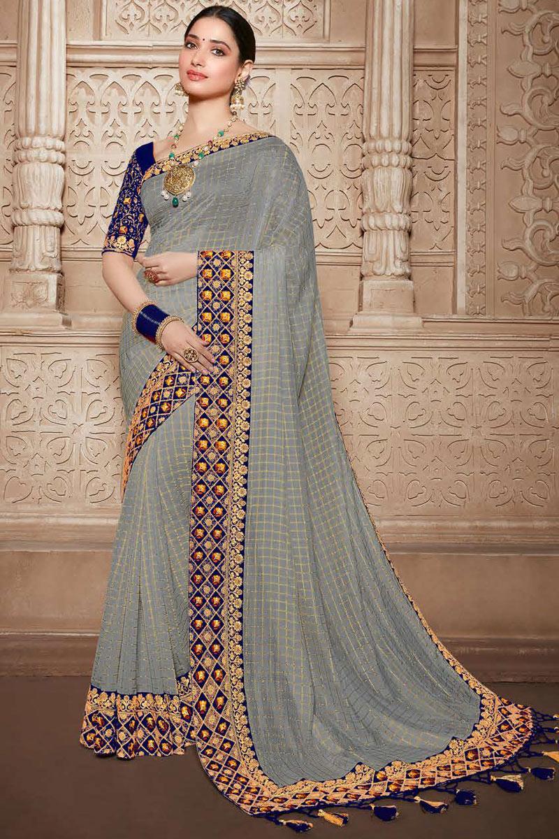 Tamannaah Bhatia Embroidery Work On Art Silk Fabric Grey Color Saree For Mehendi Ceremony