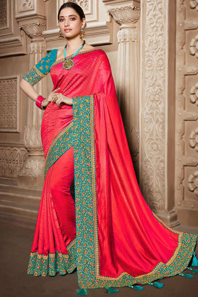 Tamannaah Bhatia Art Silk Fabric Designer Embroidered Saree In Pink Color With Attractive Blouse