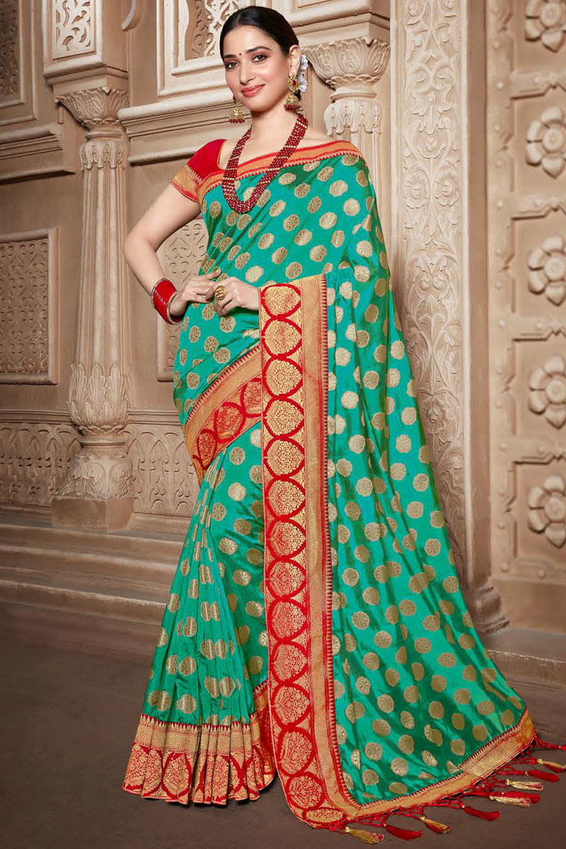 Tamannaah Bhatia Light Turquoise Color Party Wear Saree In Art Silk Fabric With Embroidery Work And Beautiful Blouse