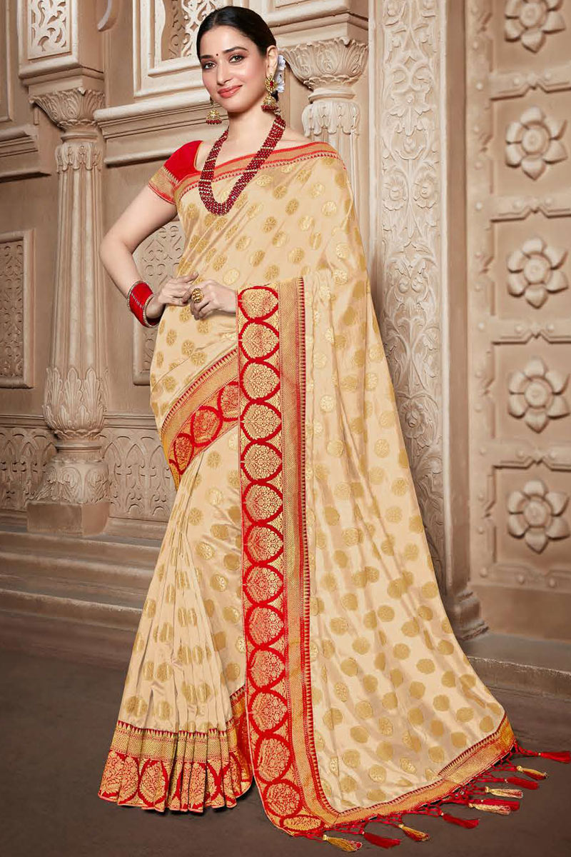 Tamannaah Bhatia Art Silk Fabric Cream Color Festive Wear Saree With Embroidery Work And Attractive Blouse