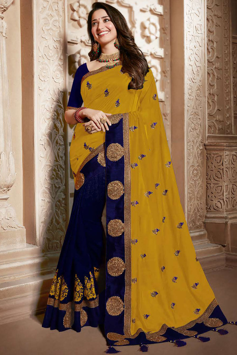 Tamannaah Bhatia Occasion Wear Art Silk Fabric Embroidered Saree In Mustard Color With Designer Blouse