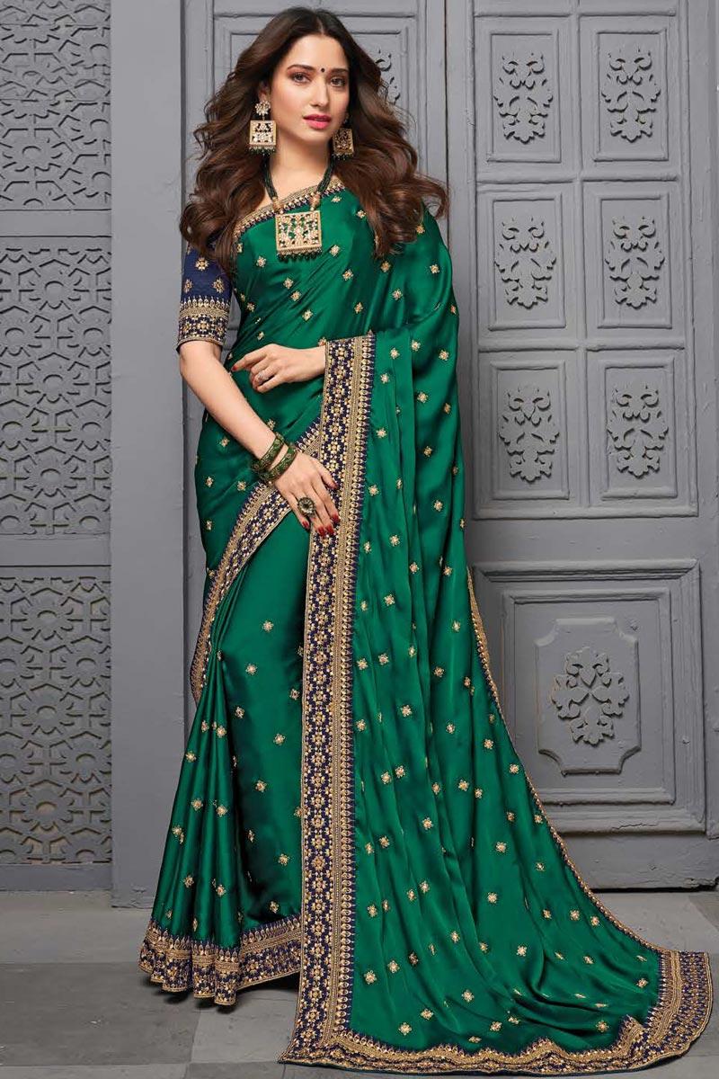 Tamanna Bhatia Art Silk Fabric Sangeet Wear Embroidered Border Work Saree In Dark Green Color