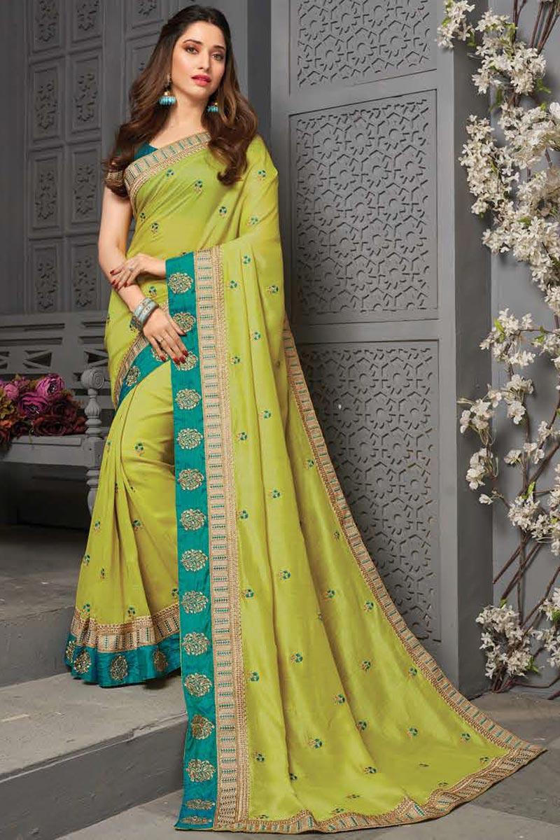 Tamanna Bhatia Sangeet Wear Sea Green Color Art Silk Fabric Embroidered Border Work Saree