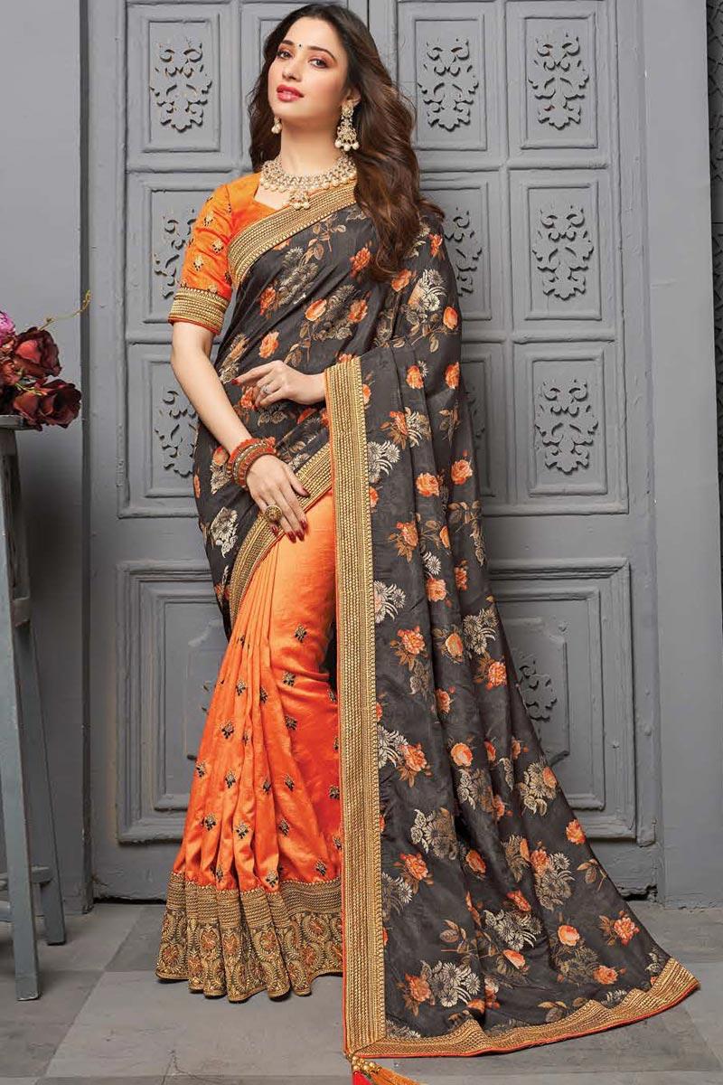 Tamanna Bhatia Sangeet Wear Art Silk Fabric Embroidered Border Work Saree In Orange Color