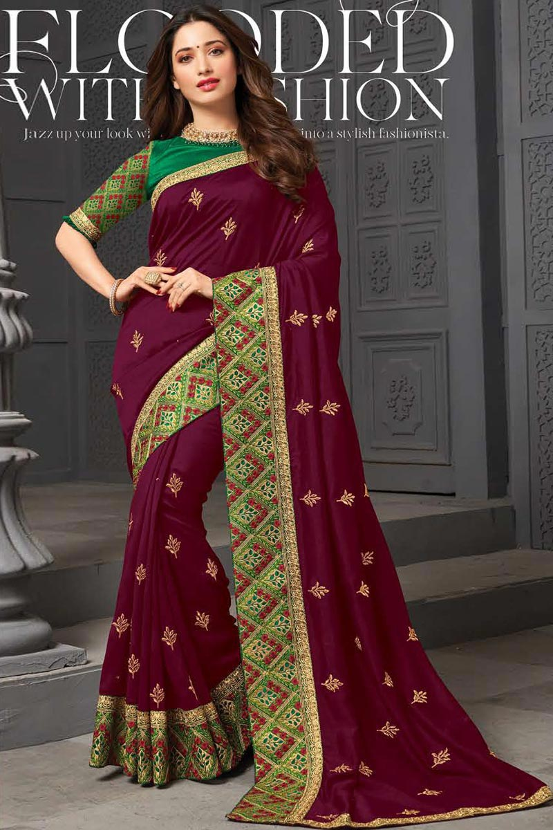 Tamanna Bhatia Purple Color Sangeet Wear Art Silk Fabric Embroidered Border Work Saree
