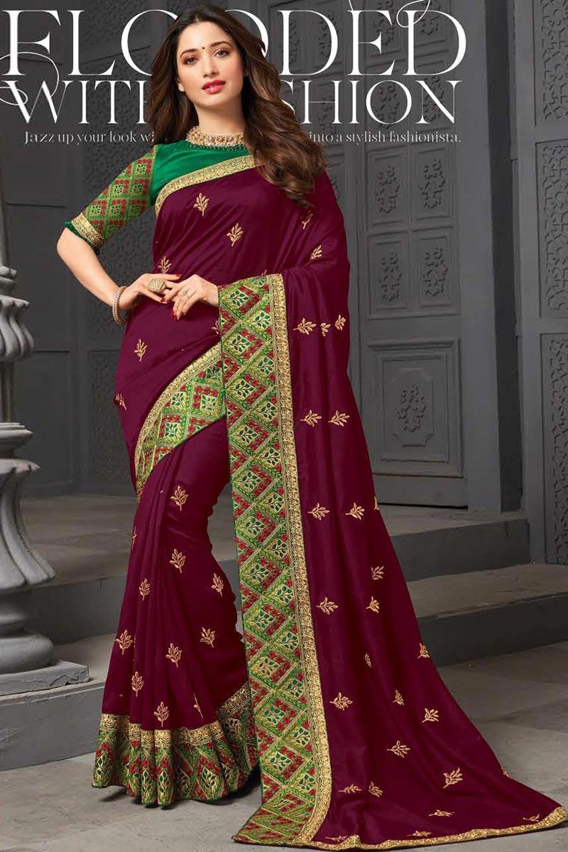 Tamanna Bhatia Purple Color Sangeet Wear Art Silk Fabric Embroidered Border Work Saree