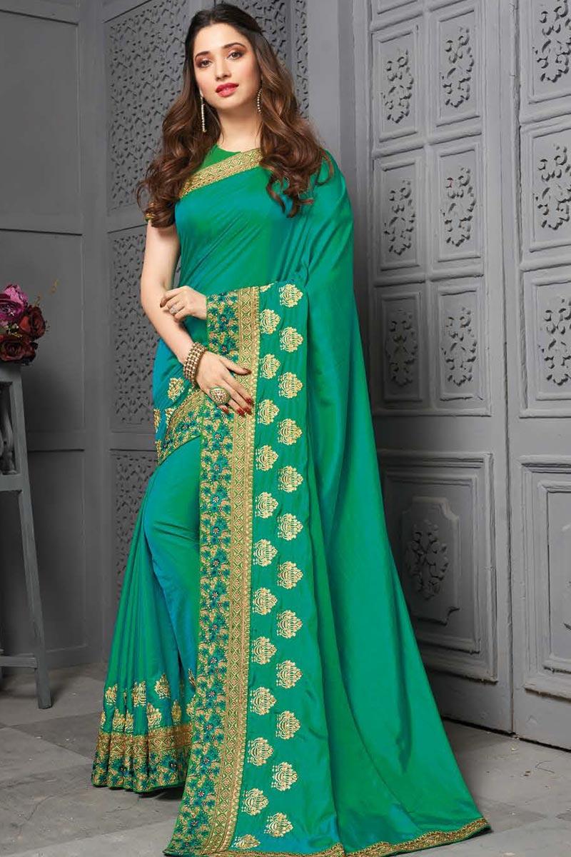 Tamanna Bhatia Cyan Color Sangeet Wear Embroidered Border Work Saree In Art Silk Fabric