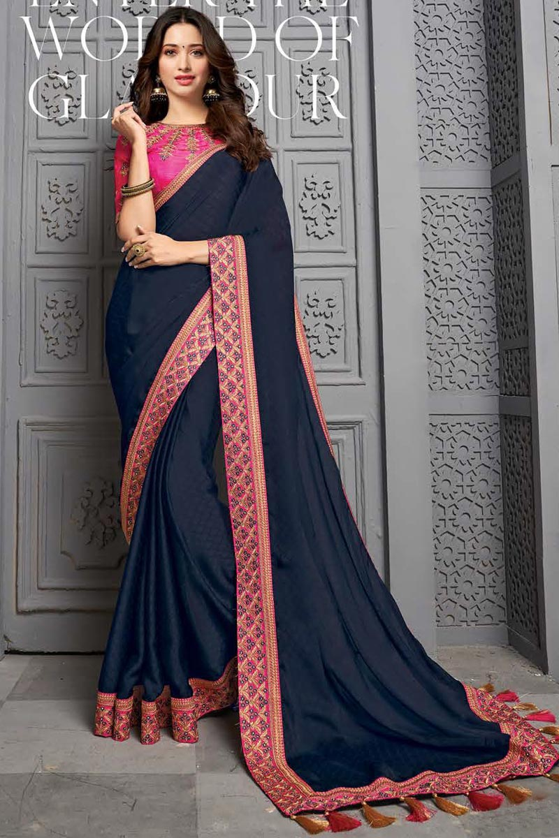 Tamanna Bhatia Sangeet Wear Navy Blue Color Chiffon Fabric Embroidered Border Work Saree