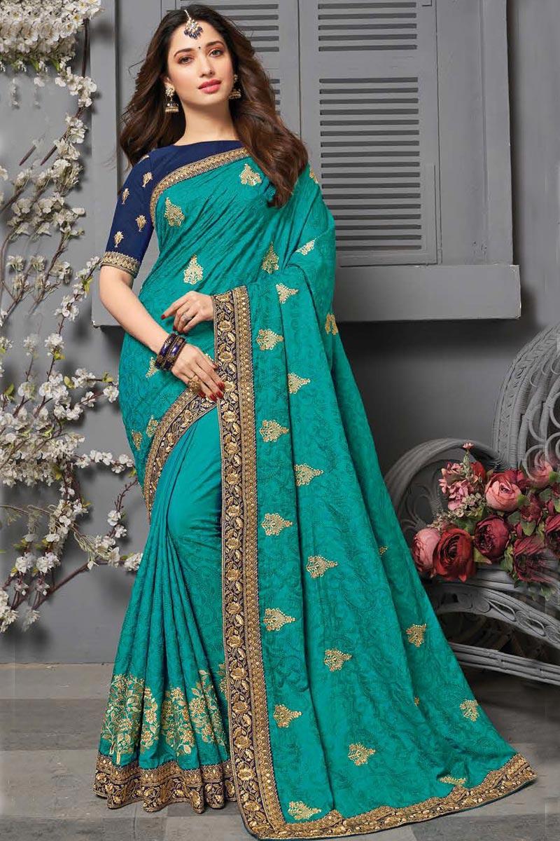 Tamanna Bhatia Art Silk Fabric Sangeet Wear Cyan Color Embroidered Border Work Saree