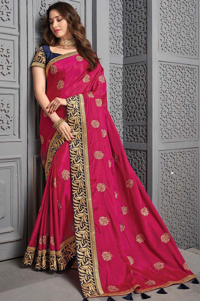 Tamanna Bhatia Art Silk Fabric Sangeet Wear Embroidered Border Work Saree In Rani Color