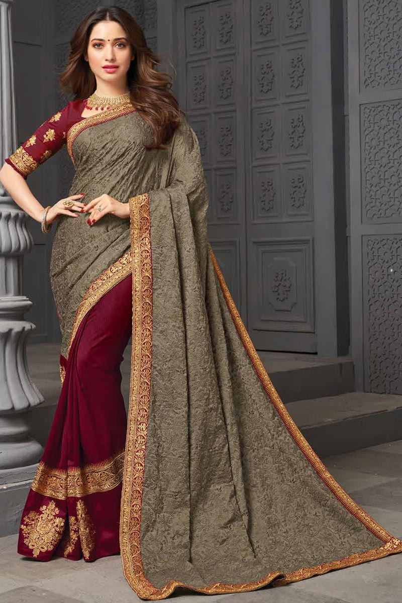 Tamanna Bhatia Art Silk Fabric Party Wear Embroidered Border Work Saree In Maroon Color