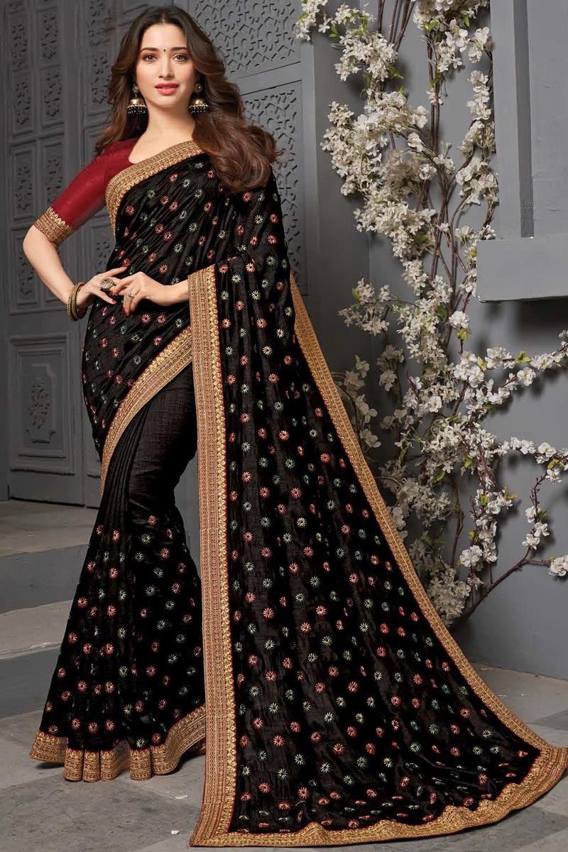 Tamanna Bhatia Party Wear Black Color Art Silk Fabric Embroidered Border Work Saree