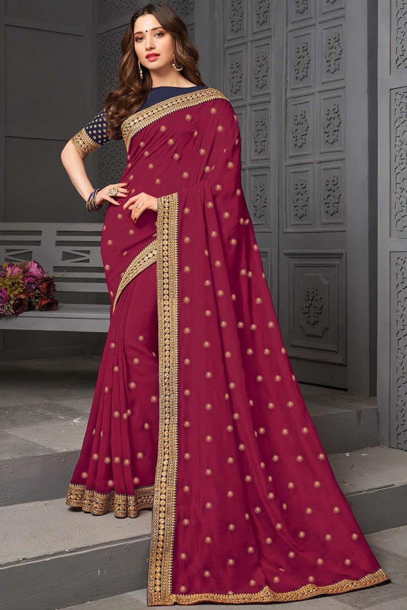 Tamanna Bhatia Party Wear Art Silk Fabric Embroidered Border Work Saree In Burgundy Color