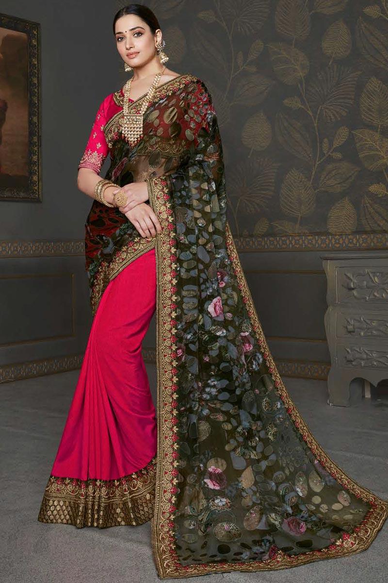 Tamannaah Bhatia Chiffon Fabric Fancy Puja Wear Rani Color Embroidery Work Saree