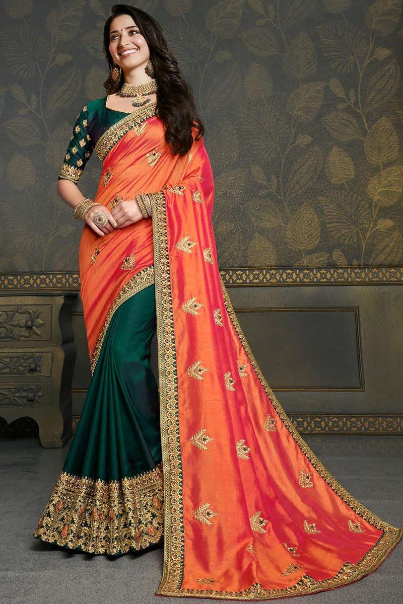 Tamannaah Bhatia Dark Green Color Puja Wear Art Silk Fabric Fancy Embroidery Work Saree