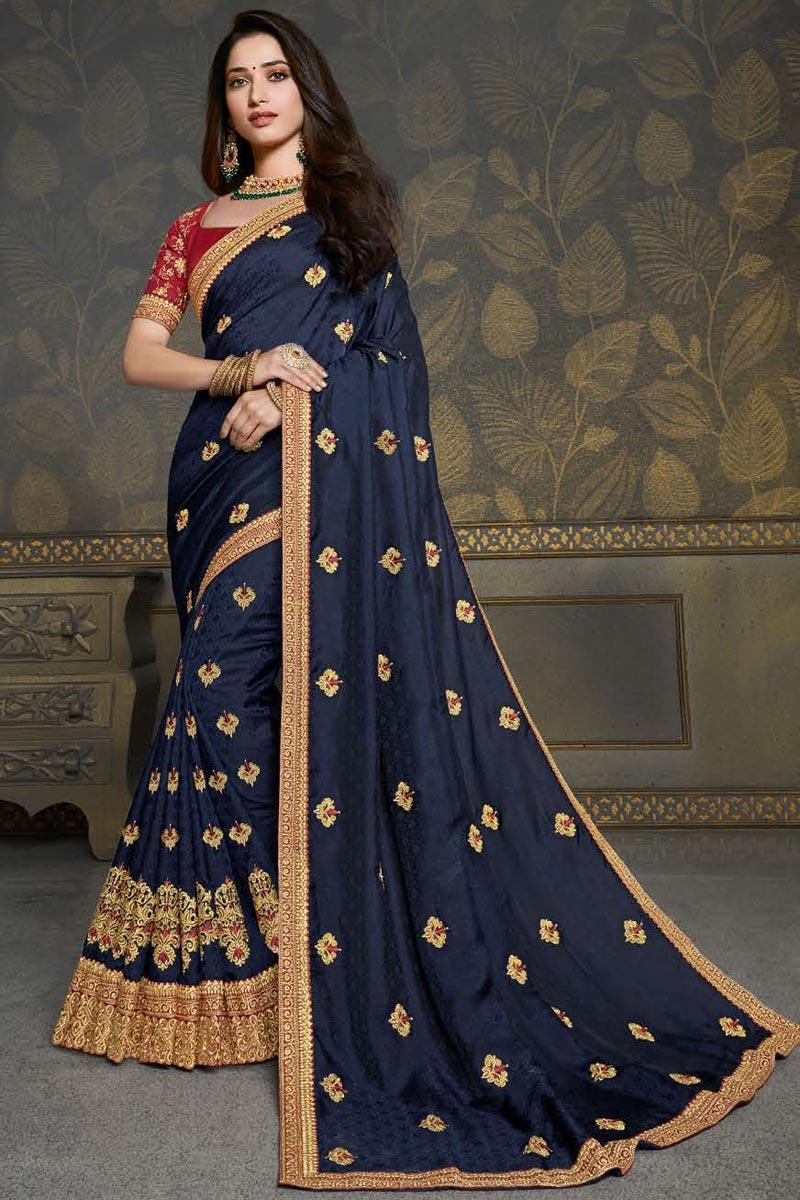Tamannaah Bhatia Function Wear Navy Blue Color Fancy Art Silk Fabric Embroidery Work Saree
