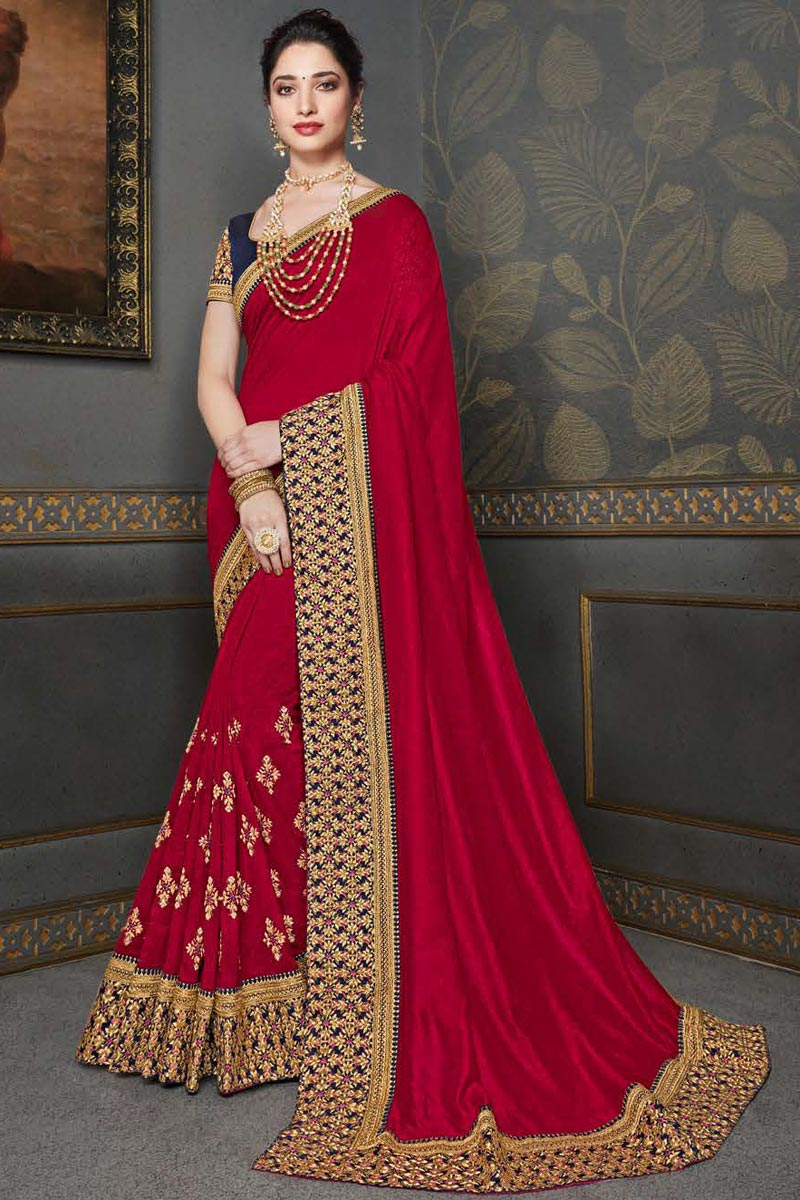 Tamannaah Bhatia Festive Wear Art Silk Fabric Fancy Embroidery Work Saree In Red Color