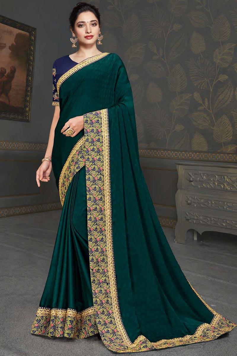 Tamannaah Bhatia Teal Color Festive Wear Fancy Art Silk Fabric Embroidery Work Saree