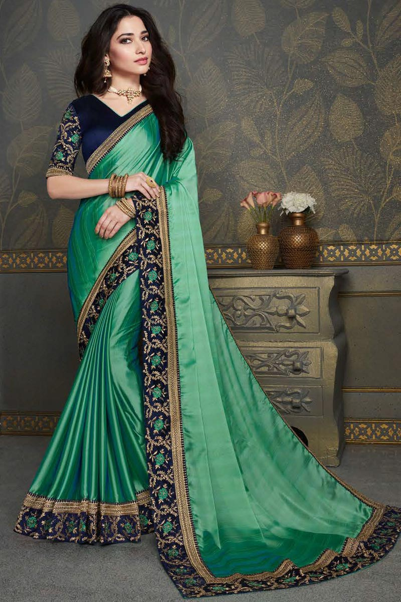 Tamannaah Bhatia Green Color Party Wear Art Silk Fabric Fancy Embroidery Work Saree