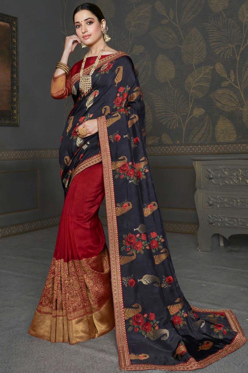 Tamannaah Bhatia Sangeet Wear Maroon Color Fancy Art Silk Fabric Embroidery Work Saree